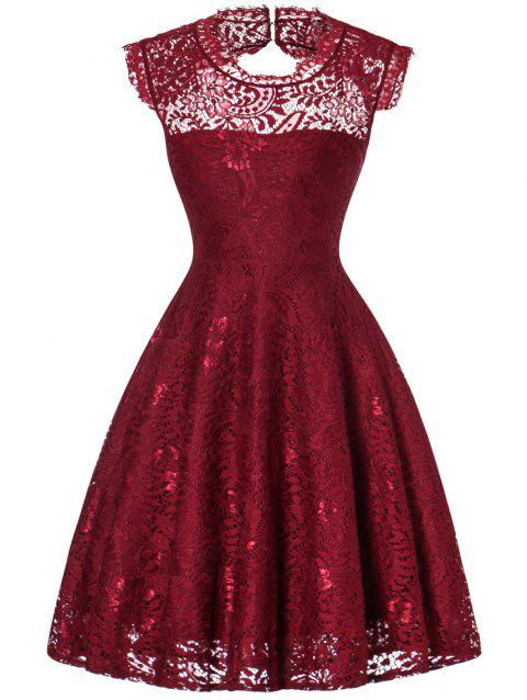 Lace Open Back Flare Cocktail Dress - WINE RED L