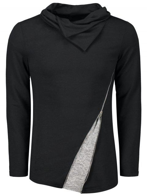 Heaps Collar Zip T-shirt - BLACK M