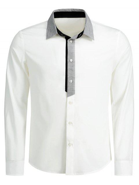 Contrast Trim Button Up Shirt - WHITE 2XL