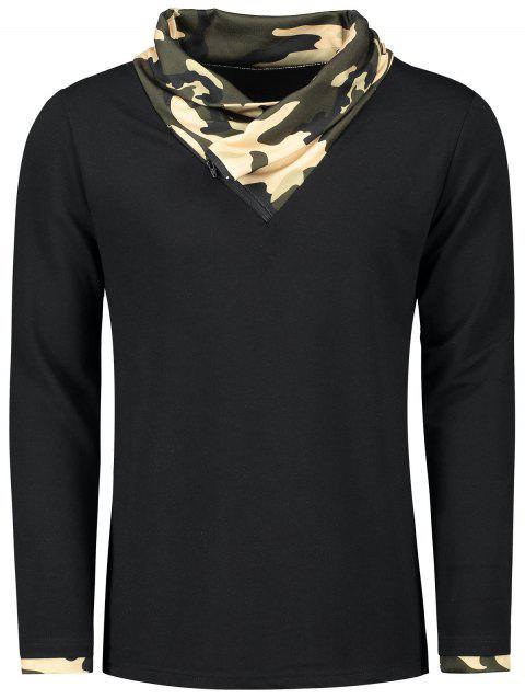 Long Sleeve Heaps Collar Camouflage T-shirt - BLACK XL