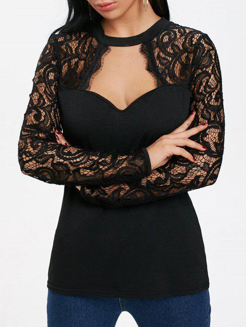 e23e8a0e9ca1 LIMITED OFFER  2019 Cut Out Lace Panel Long Sleeve T-shirt In BLACK ...