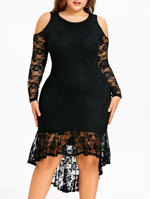 Plus Size Cold Shoulder Lace Dip Hem Dress - BLACK XL