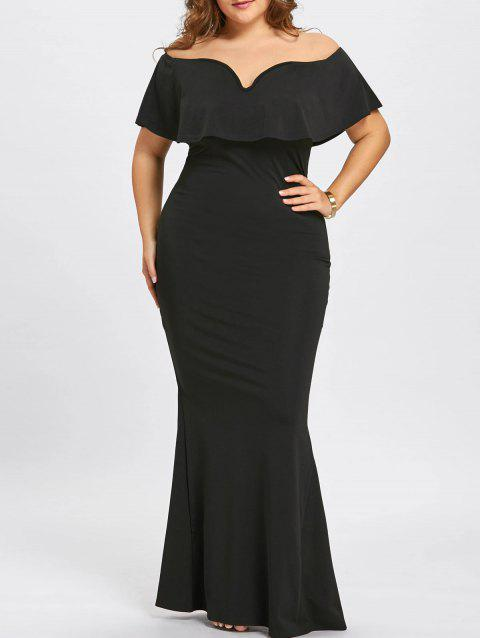 Plus Size Off The Shoulder Ruffle Mermaid Dress - BLACK 2XL