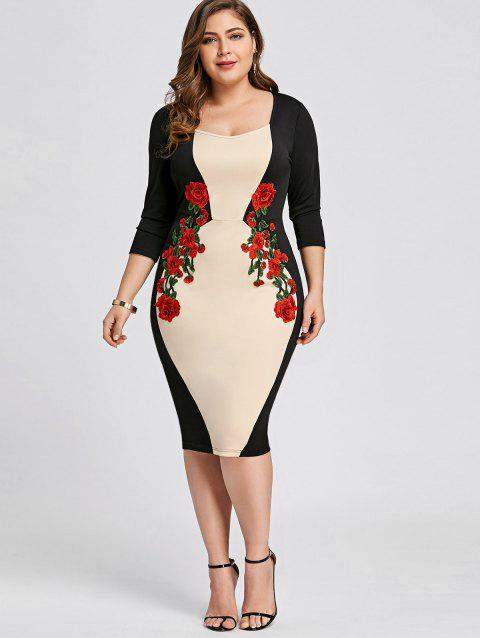 72a92d4c2 17% OFF  2019 Plus Size Embroidered Color Block Bodycon Dress In ...