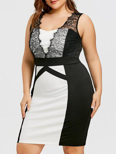 9d048522f93 41% OFF  2019 Plus Size Lace Insert Sleeveless Dress In BLACK WHITE ...