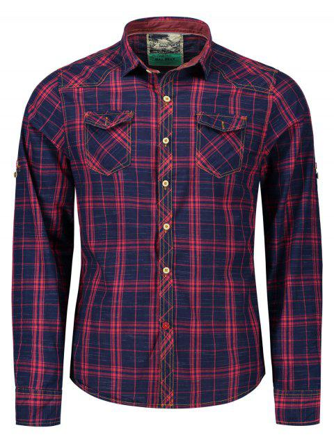 Adjustable Sleeve Flap Pockets Plaid Shirt - BLUE/RED M