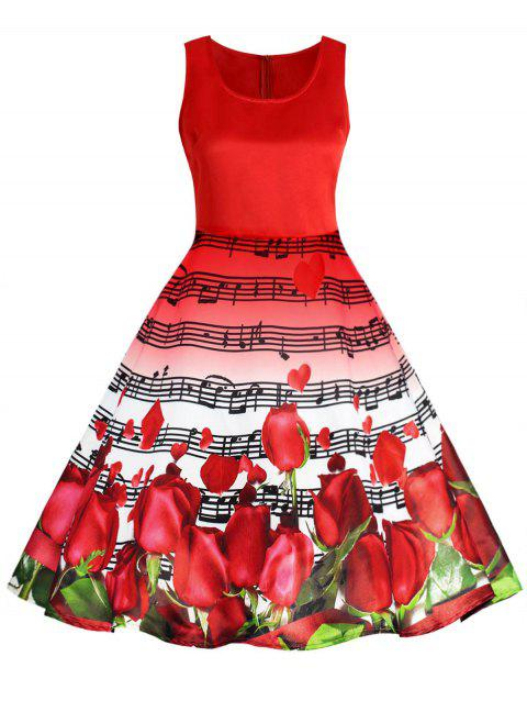 Valentines Day Musical Notes Roses Printed Flared Dress - RED S
