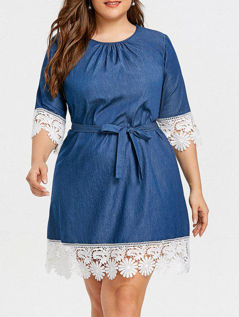 41% OFF] 2019 Plus Size Lace Panel Casual Dress In DENIM BLUE ...