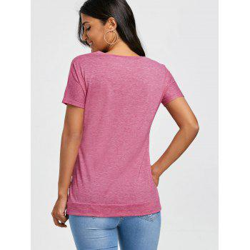 Longline Button Embellished T-shirt - PINK S