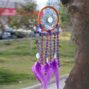 Feather Faux Crystal Shell Handmade Dreamcatcher Decoration - PURPLE