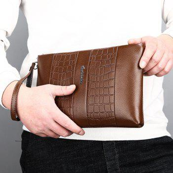 Faux Leather Embossing Wristlet - BROWN