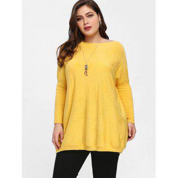 Plus Size Knit Dolman Sleeve Tunic Sweater - YELLOW YELLOW