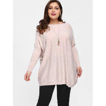 Pull Tunique à Manches Chauves-Souris Grande Taille - Rose Clair ONE SIZE