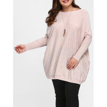 Plus Size Knit Dolman Sleeve Tunic Sweater - SHALLOW PINK SHALLOW PINK