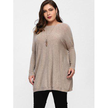 Plus Size Knit Dolman Sleeve Tunic Sweater - APRICOT ONE SIZE