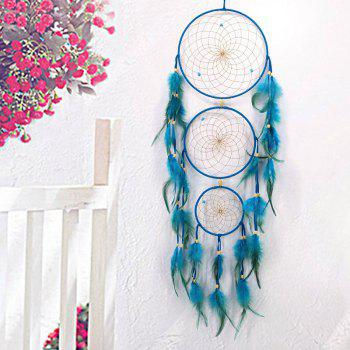 Faux Turquoise Hanging Ornament 3 Ring Dreamcatcher - LAKE BLUE