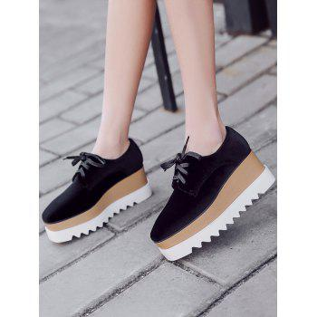 Wedge Heel Casual Shoes - BLACK 36