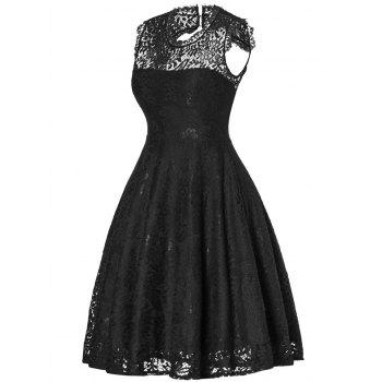 Lace Open Back Flare Cocktail Dress - BLACK S