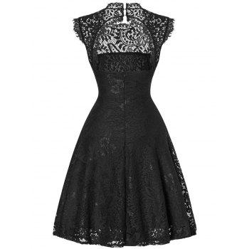 Lace Open Back Flare Cocktail Dress - BLACK 2XL