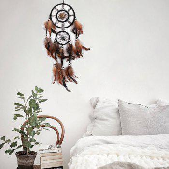 Handmade Feathers Fringed Native American Dream Catcher - DUN