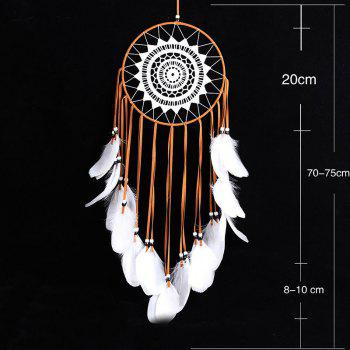 Handmade Goose Feather Lace Hanging Decoration Dreamcatcher - LIGHT COFFEE