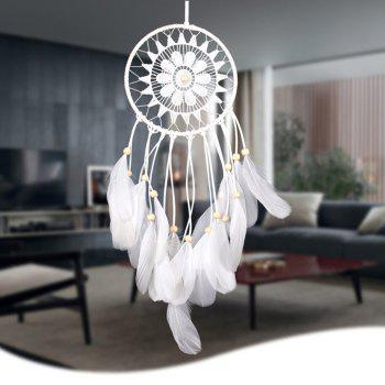 Wooden Bead Lace Feather Hanging Handmade Dreamcatcher Decoration - WHITE