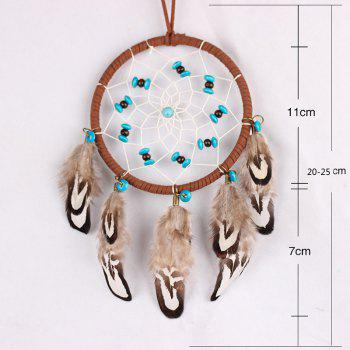 Turquoise Wooden Bead Feather Hanging Handmade Dream Catcher - BROWN