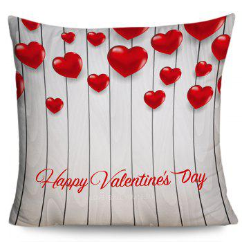 Happy Valentine's Day Love Heart Printed Pillow Case - GRAY W18 INCH * L18 INCH