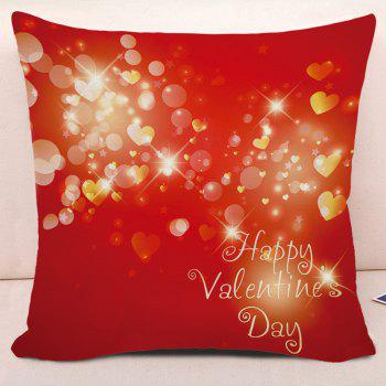 Taie d'oreiller carrée Love Hearts Valentine's Day - Rouge W17.5 INCH * L17.5 INCH