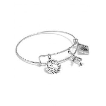 Globe Airplan Travel Design Charm Bracelet - SILVER