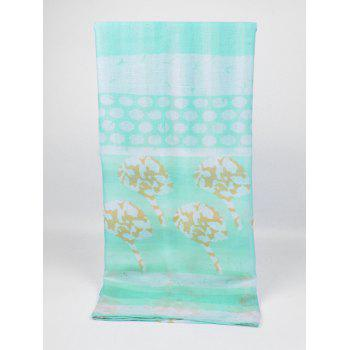 Unique Striped Pattern Long Voile Scarf - GREEN