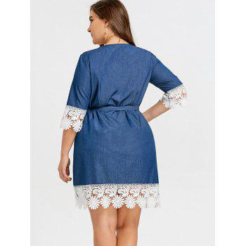Plus Size Lace Panel  Casual Dress - DENIM BLUE 3XL
