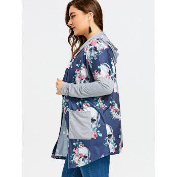 Plus Size Skull Hooded Cardigan - BLUE 3XL