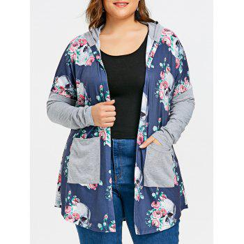 Plus Size Skull Hooded Cardigan - BLUE BLUE