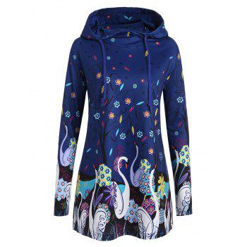 Long Plus Size Swan Print Hoodie - BLUE BLUE