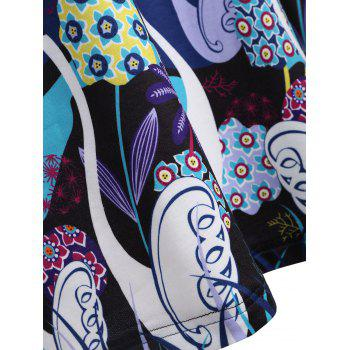 Long Plus Size Swan Print Hoodie - BLUE 2XL