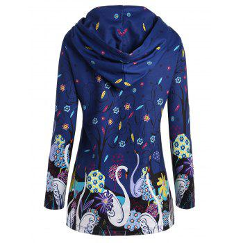 Long Plus Size Swan Print Hoodie - BLUE 3XL