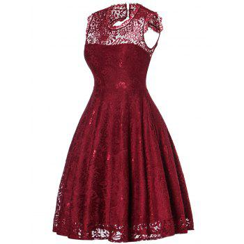 Lace Open Back Flare Cocktail Dress - WINE RED WINE RED