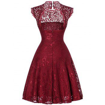 Lace Open Back Flare Cocktail Dress - WINE RED XL