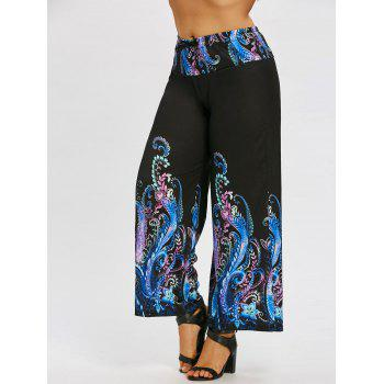 Paisley Printed Plus Size Wide Leg Pants - BLACK BLACK