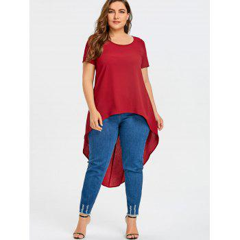 Plus Size Short Sleeve High Low Blouse - RED 2XL