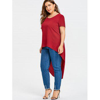 Plus Size Short Sleeve High Low Blouse - RED RED