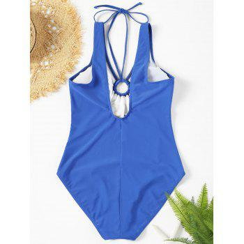 Backless Plunge Neck One Piece Swimsuit - BLUE M