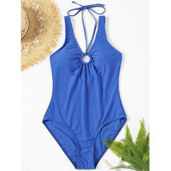 Backless Plunge Neck One Piece Swimsuit - BLUE L