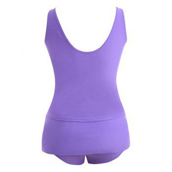 Paded Plus Size Tankini Swimdress - PURPLE 3XL