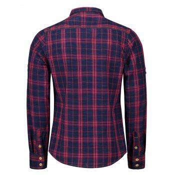 Adjustable Sleeve Flap Pockets Plaid Shirt - BLUE/RED 2XL