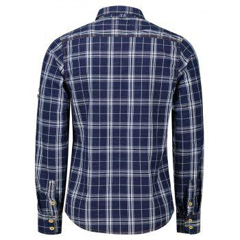 Adjustable Sleeve Flap Pockets Plaid Shirt - BLUE/WHITE 2XL