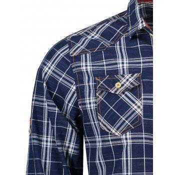 Adjustable Sleeve Flap Pockets Plaid Shirt - BLUE/WHITE XL