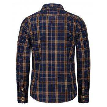 Adjustable Sleeve Flap Pockets Plaid Shirt - BLUE/YELLOW 2XL