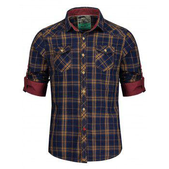 Adjustable Sleeve Flap Pockets Plaid Shirt - BLUE/YELLOW L